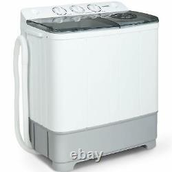 21lbs White&Grey Washing Machine Portable Compact Twin Tub Washer and Spin Dryer