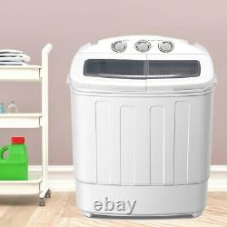 8.4KG Mini Compact Washing Machine Twin Tub Laundr Washer with Spin-Dryer White