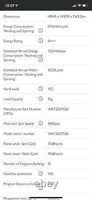 Bosch WAT28371GB Washing Machine in White 6 Months Old