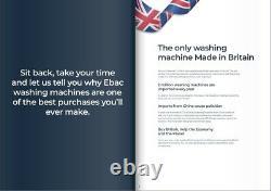 Ebac AWM86D2H-WH Super Silent Washing Machine 8kg, 1600 Spin HOT & COLD FILL