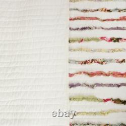 King Size 100% Cotton Shabby Chic White Multi 3 Pc Quilt Set Machine Wash Shams