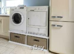 Tetbury double laundry pedestal stand. Washing machine & dryer stand with drawer