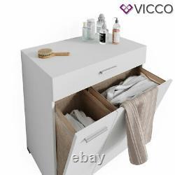 Vicco Laundry Basket Matteo Washing Machine Cabinet Bathroom Cabinet XL White