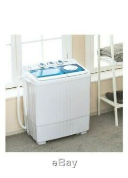 21lbs Mini Machine À Laver Portable Avec Pompe De Vidange Compact Double Baignoire Spinner Sèche