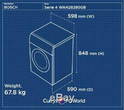 Bosch Serie 4 Wan28280gb 8 KG 1400 Spin Lave-linge Blanc Currys