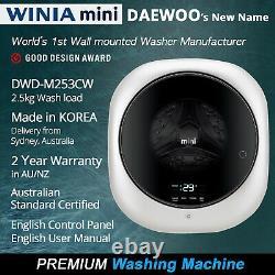 English Control & Manual Wall Washer Supportable Mini Daewoo Dwd-m253cw