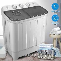 Lave-linge Portable De 7,5 KG Compact Mini Twin Tub Laundry Lave-linge + Sèche-linge Spin