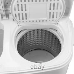 Lave-linge Twin Tub De 8,4 KG Mini Machine À Laver Compacte Avec Spin-dryer Blanc