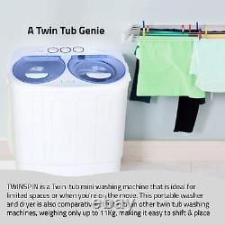 Mini Lave-portable Compact Double Cuve Lavage En Machine Spin Cycle Vidange 13 Lbs Nouveau